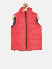YK Boys Red Sleeveless Padded Jacket