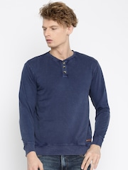 Mast & Harbour Men Blue Solid Pullover Sweatshirt
