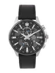 CASIO Edifice Men Gunmetal-Toned Multifunction Textured Dial Watch EX297
