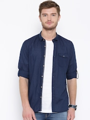 Numero Uno Navy Patterned Slim Casual Shirt