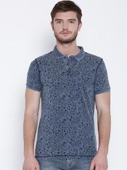 Numero Uno Blue & Black Floral Print Polo T-shirt