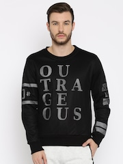 HRX by Hrithik Roshan Black Printed Sweatshirt