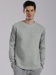 HRX by Hrithik Roshan Grey Melange Quilted Sweatshirt