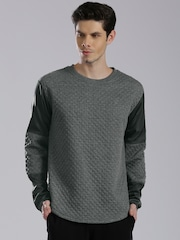HRX by Hrithik Roshan Charcoal Grey Quilted Sweatshirt