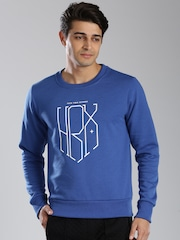 HRX by Hrithik Roshan Blue Printed Sweatshirt