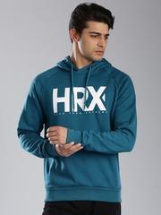 HRX by Hrithik Roshan Teal Blue Printed Hooded Sweatshirt