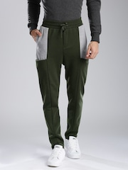 HRX by Hrithik Roshan Olive Green & Grey Colourblock Track Pants