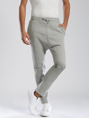 HRX by Hrithik Roshan Grey Melange Drop-Crotch Converstible Track Pants