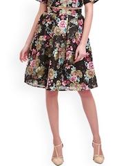 SASSAFRAS Black Floral Print Silk A-Line Skirt