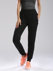 HRX by Hrithik Roshan Women Black Solid Regular Fit Cuffed Trousers