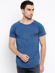 HRX by Hrithik Roshan Men Teal Blue Embossed Round Neck T-Shirt