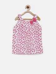 YK Girls White & Pink Printed Top