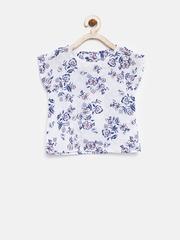 YK Girls White Floral Print Top
