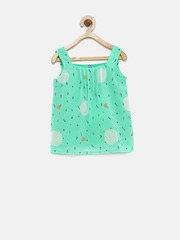 YK Girls Teal Green Printed Top