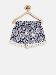 YK Girls Navy & Off-White Printed Shorts