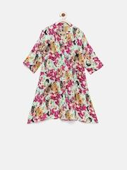 YK Girls Multicoloured Floral Print Shirt Dress