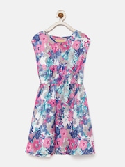 YK Girls Multicoloured Floral Print Fit & Flare Dress