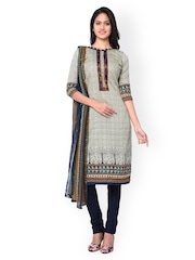 Inddus Grey & Blue Block Print Cotton Unstitched Dress Material