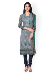 Inddus Navy Printed Cotton Unstitched Dress Material