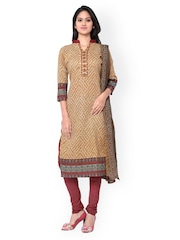 Inddus Mustard Yellow & Maroon Printed Cotton Unstitched Dress Material
