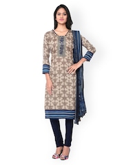 Inddus Cream-Coloured & Blue Tie-Dyed Cotton Unstitched Dress Material