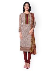 Inddus Maroon & Beige Block Print Cotton Unstitched Dress Material