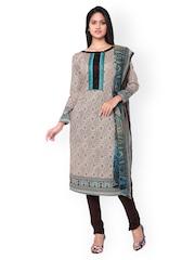 Inddus Brown & Beige Block Print Cotton Unstitched Dress Material