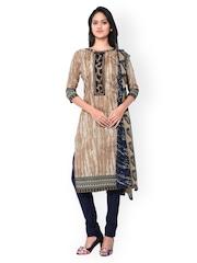 Inddus Beige & Navy Shibori Print Cotton Unstitched Dress Material