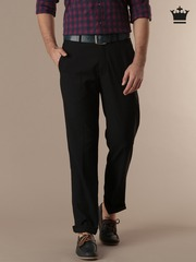Louis Philippe Navy Classic Fit Smart Casual Trousers