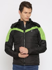 HRX by Hrithik Roshan Black & Green Puffer Jacket with Detachable Hood