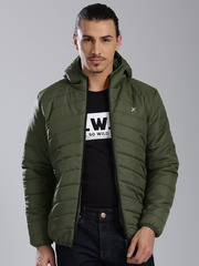 HRX by Hrithik Roshan Olive Green Hooded Puffer Jacket
