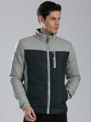 HRX by Hrithik Roshan Grey & Black Colourblock Padded Jacket