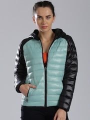 HRX by Hrithik Roshan Mint Green & Black Colorblock Puffer Jacket