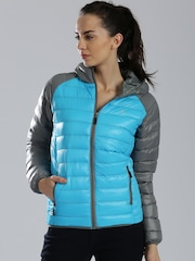 HRX by Hrithik Roshan Grey & Blue Hooded Puffer Jacket