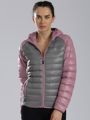 HRX by Hrithik Roshan Grey & Lavender Hooded Puffer Jacket