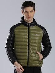 HRX by Hrithik Roshan Black & Olive Green Colourblock Puffer Jacket