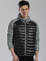 HRX by Hrithik Roshan Grey & Black Colourblock Puffer Jacket