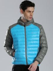 HRX by Hrithik Roshan Blue & Grey Colourblock Puffer Jacket