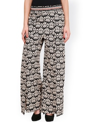 Citypret Black & Off-White Printed Palazzo Trousers