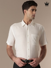 Louis Philippe White Linen Tailored Fit Formal Shirt