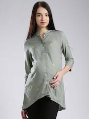 W Grey Printed Maternity Tunic Shirt