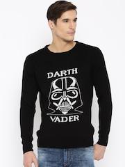 Kook N Keech Star Wars Men Black Self-Design Sweater