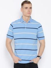 Peter England Elite Blue Striped Polo T-shirt