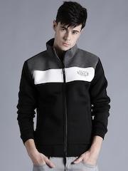 Kook N Keech Black & Grey Melange Colourblocked Sweatshirt