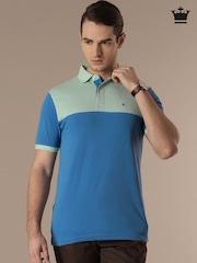 Louis Philippe Blue Printed Polo T-shirt