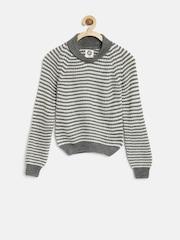 YK Boys Grey & Off-White Striped Sweater
