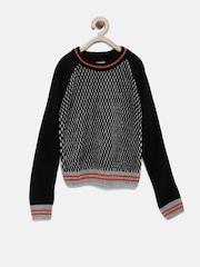 YK Boys Black Pattern Knit Sweater