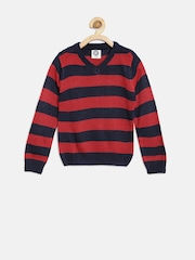YK Boys Red & Navy Striped Sweater