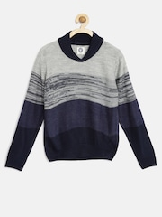 YK Boys Grey & Navy Patterned Sweater