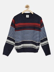 YK Boys Blue & Red Striped Sweater